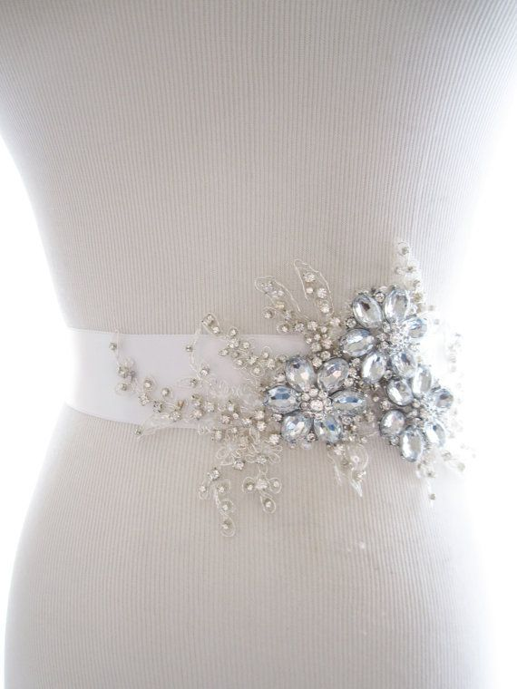 Amazing Rhinestone Beaded Lace Applique Bridal Sash, wedding sash, bridal belt, wedding belt | delicate beaded flower sash...