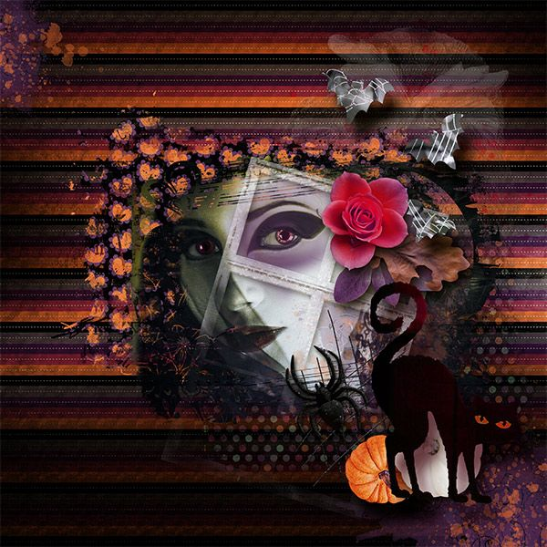 "It comes once a year - the Halloween Night.  Enjoy this little mini kit which includes:  6 background papers, (JPG, 12""x12"")  and 15 PNG elements (bats, candy, cat, fastener, flower, foliage, frame, glow, leaf, owl, orange pumpkin, white pumpkin, scribbled grid, spider, wire) and 1 accent overlay.  Happy Halloween everyone!"