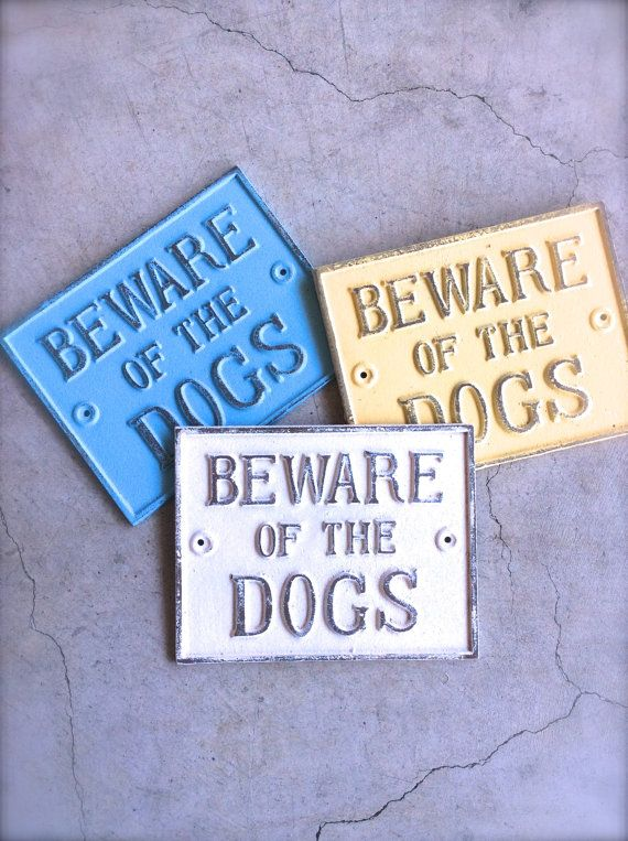 Beware of Dog Sign Vintage Inspired Sign Puppy by honeywoodhome