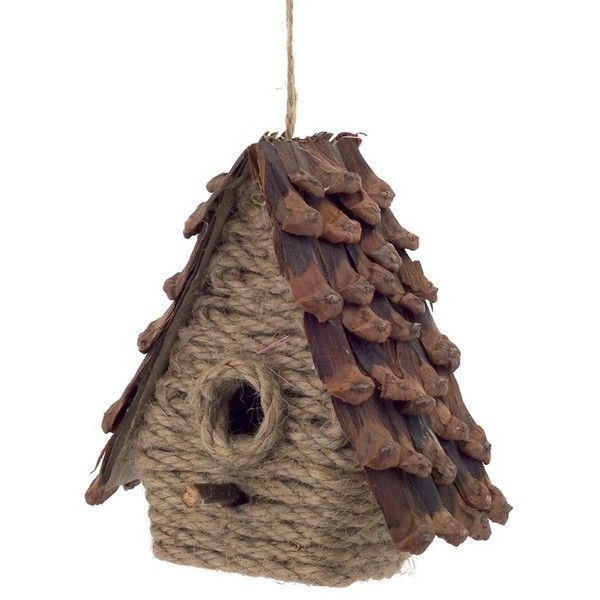 Melrose Gifts Birdhouse Ornament ($2.96) ❤ liked on Polyvore featuring home, home decor, holiday decorations, brown, brown ornaments, pinecone ornaments and pine cone ornaments
