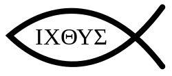 PEZ: Símbolo ichtus o ichthys, creado por la combinación de las letras griegas ΙΧΘΥΣ , Éfeso, en Asia Menor. El vocablo significa pez, y constituye un acrónimo: Ἰησοῦς Χριστός, Θεοῦ Υἱός, Σωτήρ (Iēsoûs Christós, Theoû Hyiós, Sōtḗr), que se traduce como Jesús Cristo, Hijo de Dios, Salvador. El ichtus o ichthys fue uno de los primeros símbolos cristianos y se convirtió en emblema del cristianismo primitivo