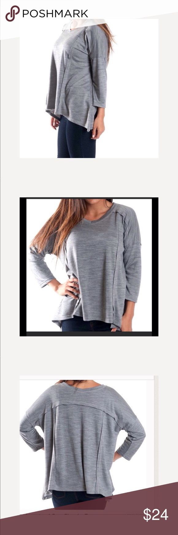 ❤️Grey Slouchy Top. NWT. Large This grey slouchy top is a perfect addition with leggings and your favorite scarf.   Fit: oversized, loose, boxy. V neck. 3/4 sleeve. 81% polyester. 19 % viscose.  Machine wash cold. Imported. Tops Tunics
