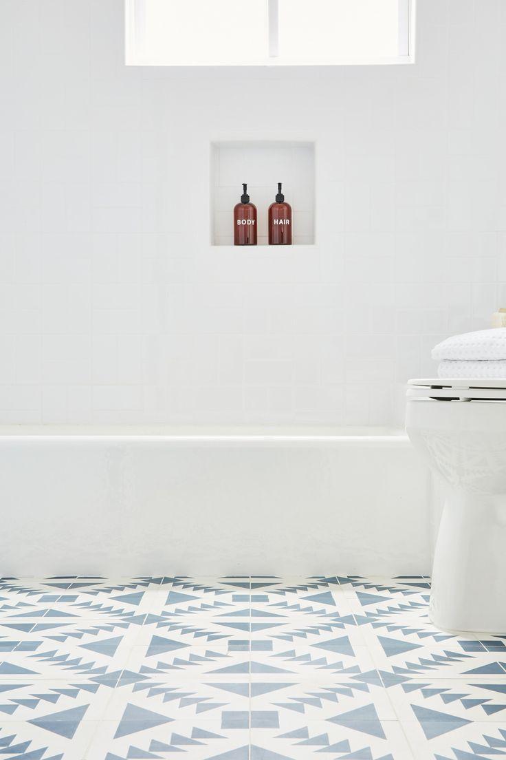 Kids Bathroom Blue Patterned Cement Tile Nina Jizhar Design