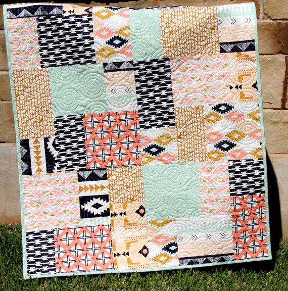 Tribal Baby Quilt Modern Girl Bedding by SunnysideDesigns2 on Etsy