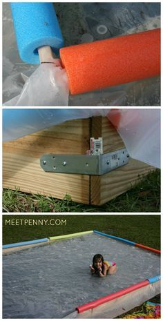 The homemade water slide is so much easier than it looks. Use PVC pipe to make a sprinkler and put down some thick plastic. Love that the water pools at the bottom for more SPLASH!