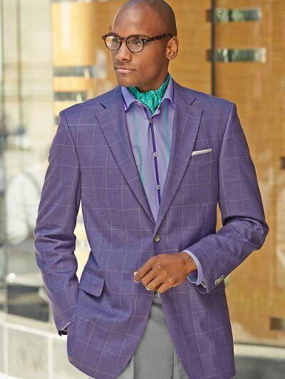Purple Windowpane Wool & Silk Two Button Sport Coat