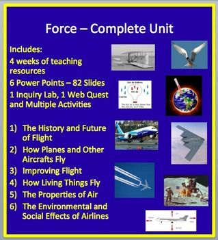 This complete unit package includes a full lesson set for a complete unit on Flight. Included in the package: - 4 weeks of teaching material - 6 Power Points totalling 82 slides - 1 Inquiry Lab on Airplane Design - 1 Web Quest - Multiple Activities built into the lessons - Teacher and student versions of each PowerPoint - Student notes in word Lessons Include: Lesson 1 - The History and Future of Flight Lesson 2 - How Planes and Other Aircraft Fly Lesson 3 - Improving Flight Lesson 4 - How…