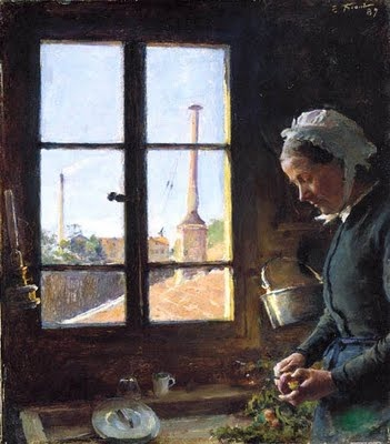 """""""Portrait de sa mere epluchant un navet, devant une fenetre"""" 1887, Emile Friant (1863 - 1932)"""
