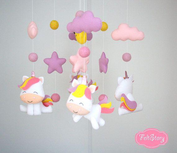 Unicorn Baby Mobile Nursery Mobile Baby Girl Mobile Cot Mobile Baby Crib Mobile Cloud Mobile Baby Mobi Moviles Para Niños Móvil De Fieltro Regalos De Niña Bebé