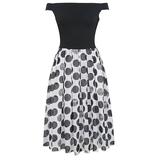 Polka Dot Off Shoulder  Patchwork  Midi Skater Dress (42 AUD) ❤ liked on Polyvore featuring dresses, flared dresses, off the shoulder short dress, midi flare dress, short dresses and short flare dress