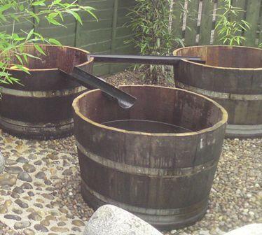 oak barrel water play area