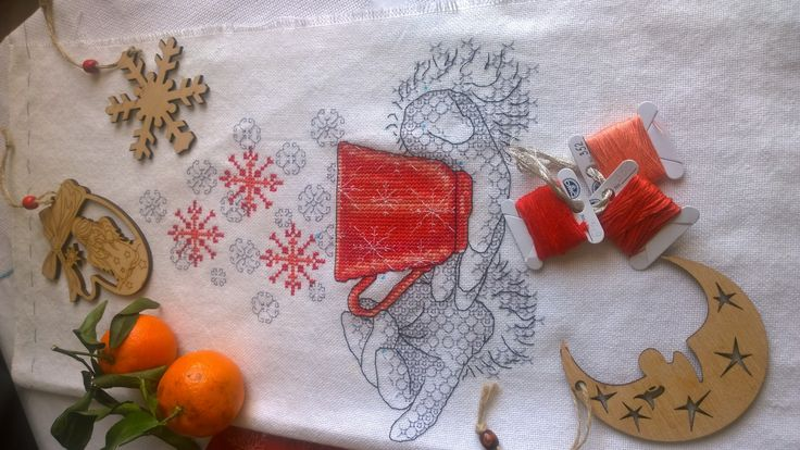 New Year's Pillow - Red Circle. Embroidered with a cross and bekties on the uniform of Ukrainian production