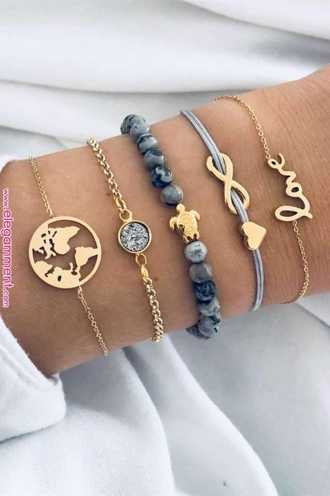 Cute Turtle World Map Marble Bracelet Set