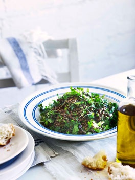 Lentil and coriander salad - with thanks to George Calombaris.  Dinner tonight? Yes please!