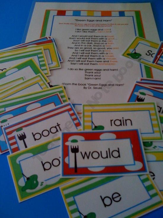 Green Eggs and Ham Rhyming Words Free Printable
