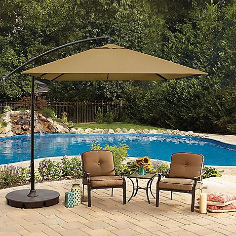 This 8' Square Cantilever Offset Umbrella is a fun and stylish way to get some shade in the backyard. Features a vented canopy, VELCRO® straps, deluxe weather-resistant fabric, and adjustable tilt.