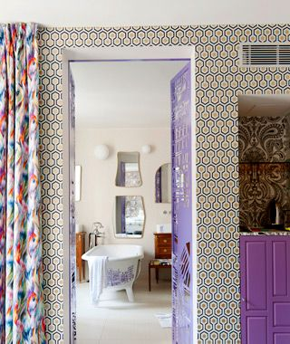 Right Bank, First Arr.: Le Crayon    The cheery mash-up of prints in this guestroom is typical of Le Crayon and reflects the style of Parisian decorator Julie Gauthron.