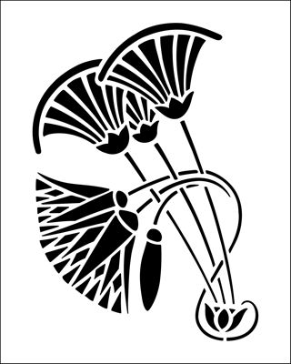 Lotus stencil from The Stencil Library BUDGET STENCILS range. Buy stencils online. Stencil code SS49.