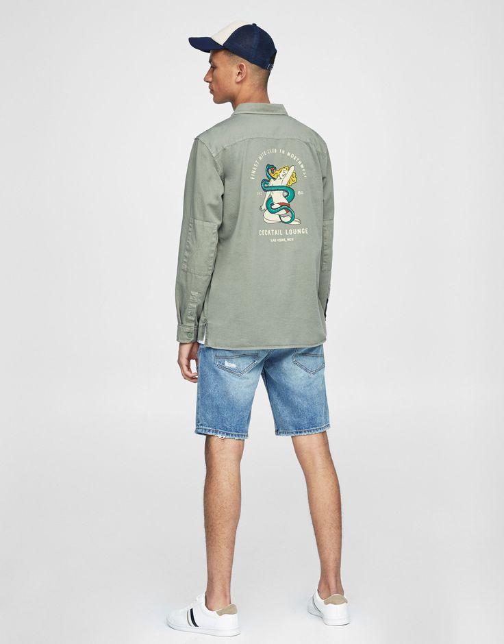 Pull&Bear - man - clothing - shirts - overshirt with back print - khaki - 09472708-I2017