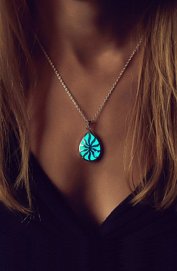 Glowing Necklace  Turquoise Necklace  Glow in the by EpicGlows