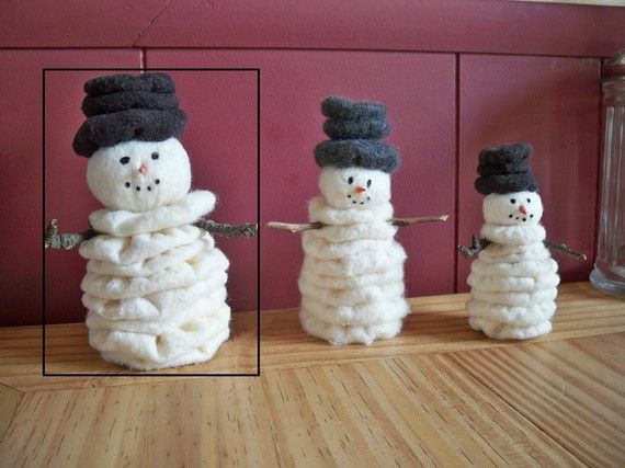 This pattern will yield you one perpetual snowman standing about 5 tall. He is made from quilt batting and fleece remnants with paint and wood