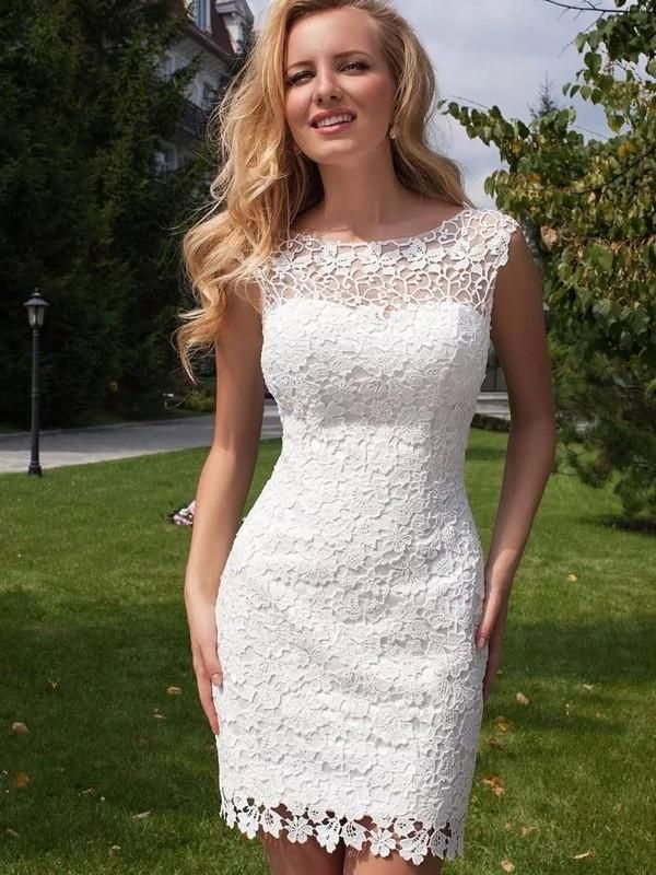 Sheath/Column Sleeveless Lace Scoop Floor-Length Tulle Wedding Dresses BR0800