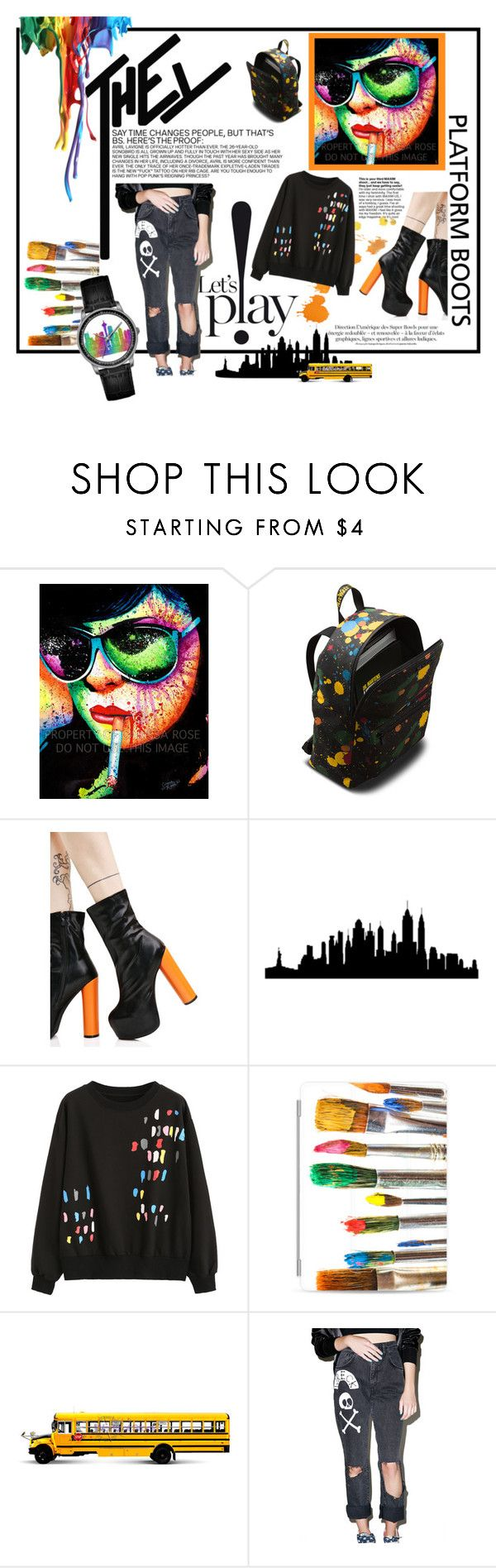 """""""Let's play your color"""" by atikazahra on Polyvore featuring Dr. Martens, Public Desire, WALL, Casetify, The Ragged Priest, colorful, PlatformBoots, polyvorecontest and readytoschool"""