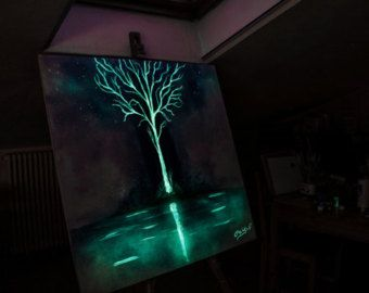 White Tree Glow in the dark PRINT   - Painting by Crisco Art Future Art Paintings