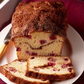 Sweet breakfast bread with a ribbon of sugar and cinnamon woven through it, baked with fresh rhubarb and a hint of orange.
