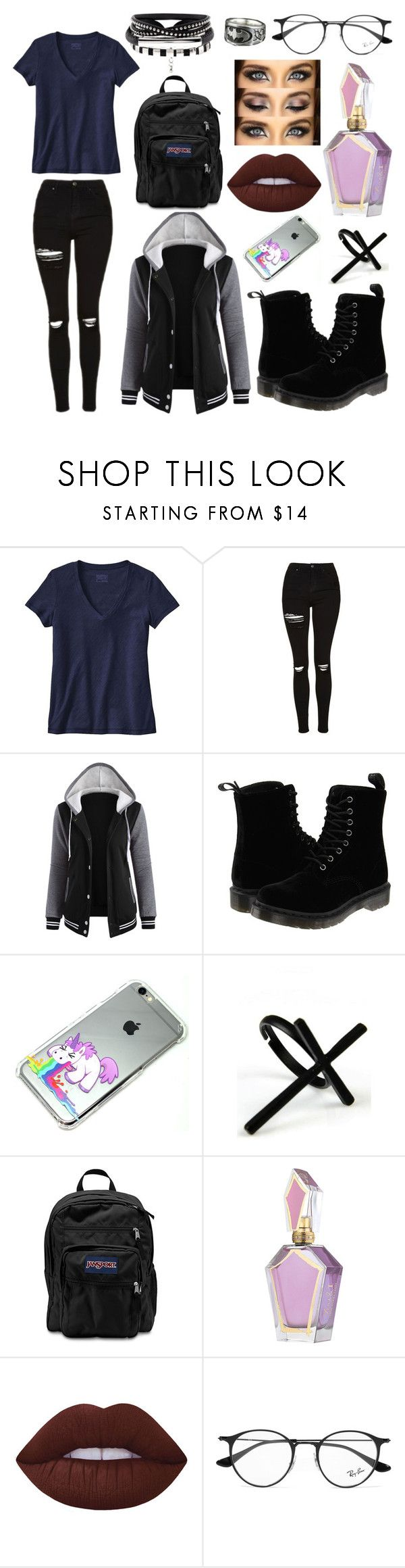 Untitled #36 by lesliemelendez on Polyvore featuring moda, Patagonia, Topshop, Dr. Martens, JanSport, Emi Jewellery, Ray-Ban, Lime Crime and INC International Concepts
