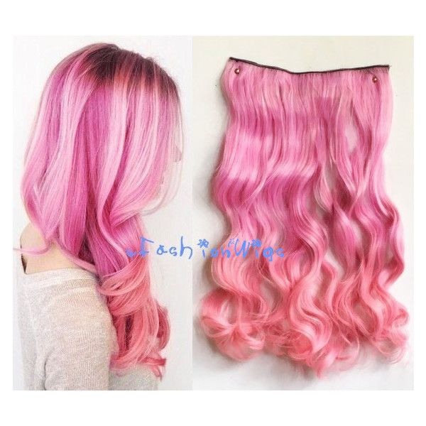Best 25 pink hair extensions ideas on pinterest pale pink hair pink two colors ombre hair extension synthetic hair extensions uf345 10 liked on pmusecretfo Images