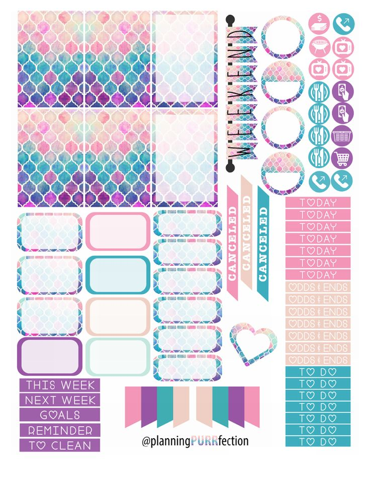 Free Watercolor planner stickers for HP