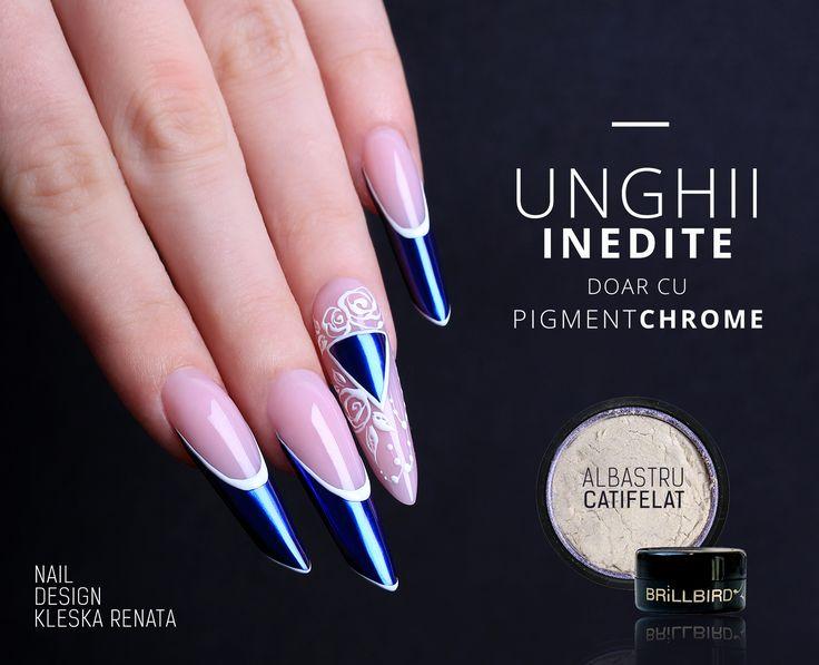 Pigment Chrome - Albastru  http://brillbird.ro/categorie-produs/decor_unghii/sclipici-decor_unghii/pigment-oglinda/