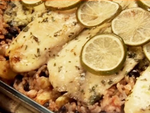 Food Network invites you to try this Baked Costa Rican-Style Tilapia with Pineapples, Black Beans and Rice recipe from Ingrid Hoffmann.