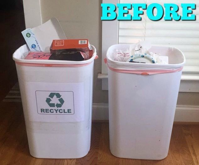 You're going to be happy you saw this! Build the perfect cabinet to hide those ugly trash cans out of sight! | kitchen | kitchen storage idea | woodworking project | kitchen cabinet | kitchen trash can | trash can cabinet