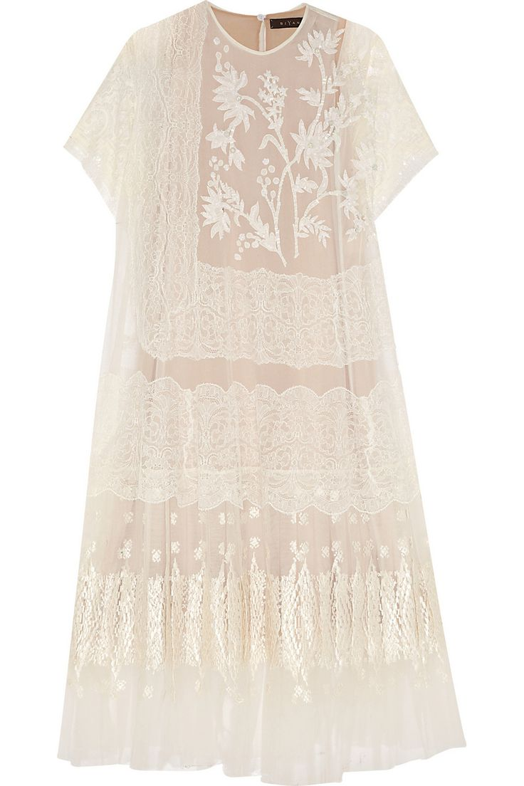 Biyan Akira floral-appliquéd tulle and lace gown NET-A-PORTER.COM