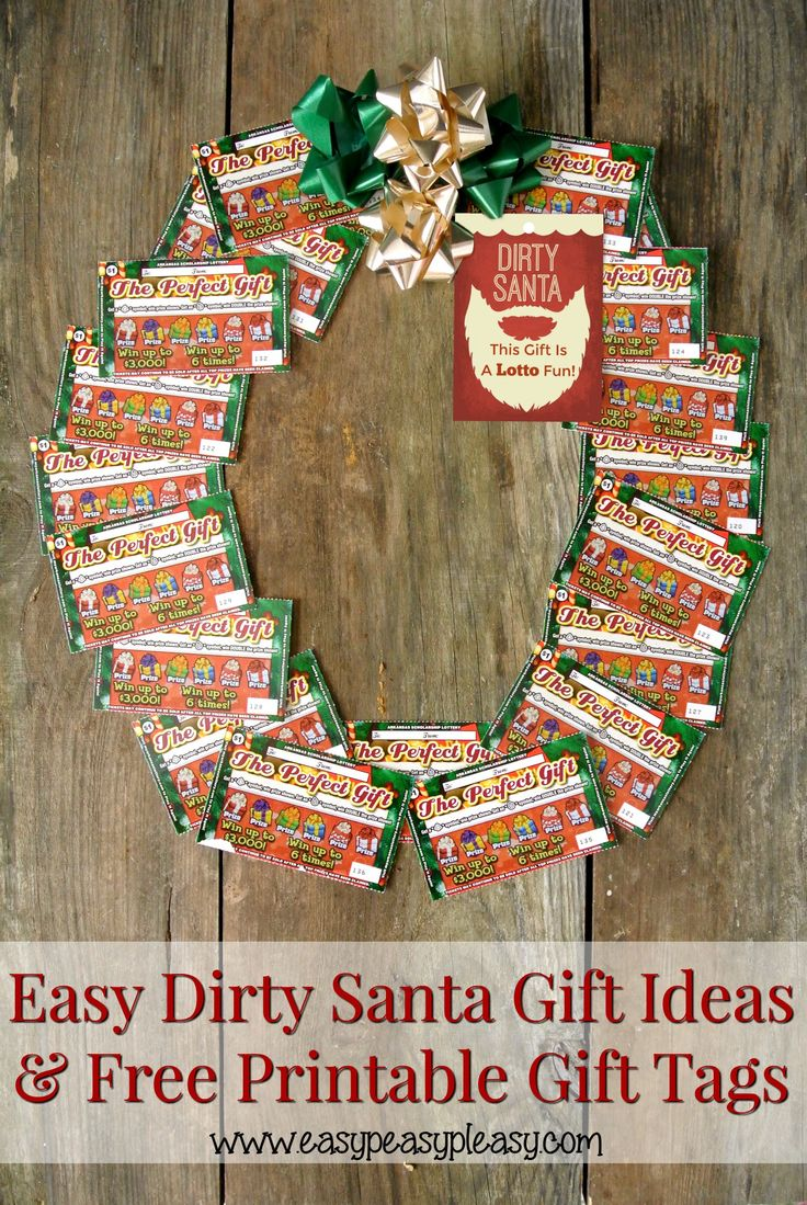 The perfect $20 Dirty Santa Gift Idea with free printable gift tags. Many more fun ways to use lottery tickets as Dirty Santa Gifts.