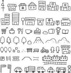 ベクター: 手描きの地図素材点