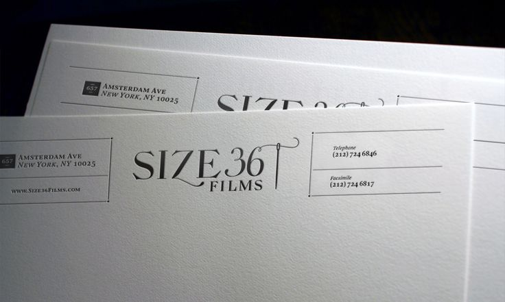 The letterpress letterhead with textured paper stock for additional tactile experience