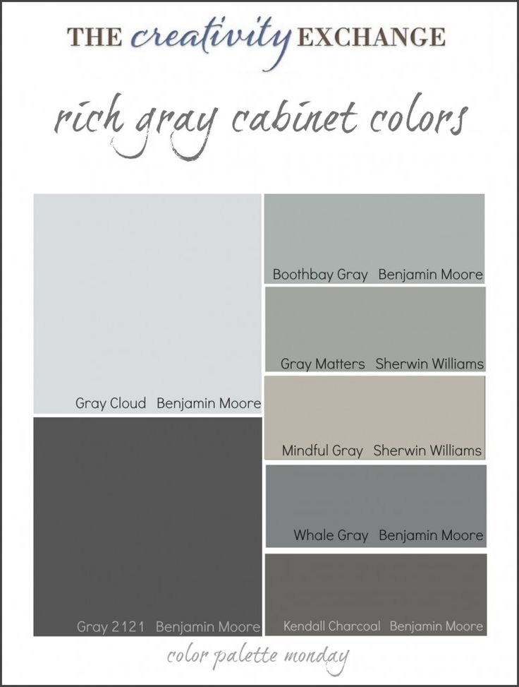 Collection of some of the most popular gray paint colors used for painting cabinets. Link has pictures of cabinets and vanities painted in these colors. {Color Palette Monday} The Creativity Exchange #colorpalette #paintcolor