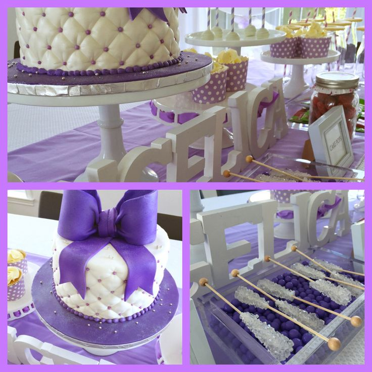 Sweet candy bar -purple theme -cupcakes cake pops and butter cookies