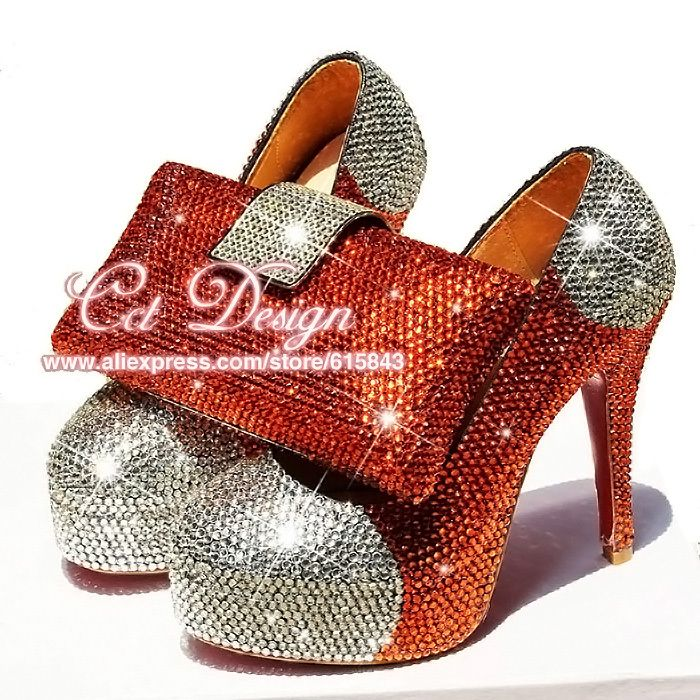 >> Click to Buy << Something White Wedding Shoes Customized Sparkly Orangered High Heels Platfrom Party Evening Shoes Italian Shoes And Bag Set #Affiliate