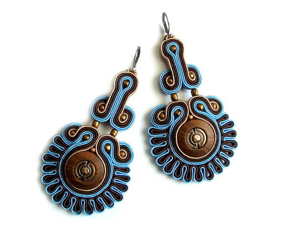 Soutache statement earrings (or studs or clip earrings) elegant, unusual and perfect for jeans - King's Stamp. $40.00, via Etsy.