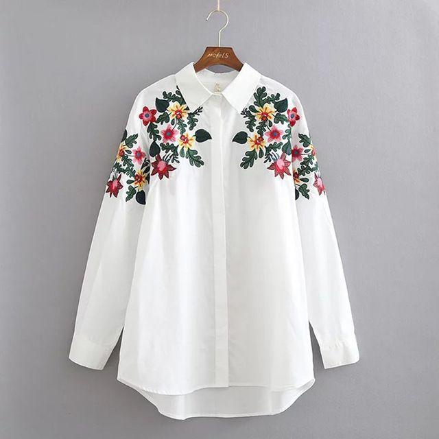 X185 primavera breve manera de las mujeres hojas verdes y floral bordado de manga larga camisa floja ocasional de la blusa de las señoras blusas tops