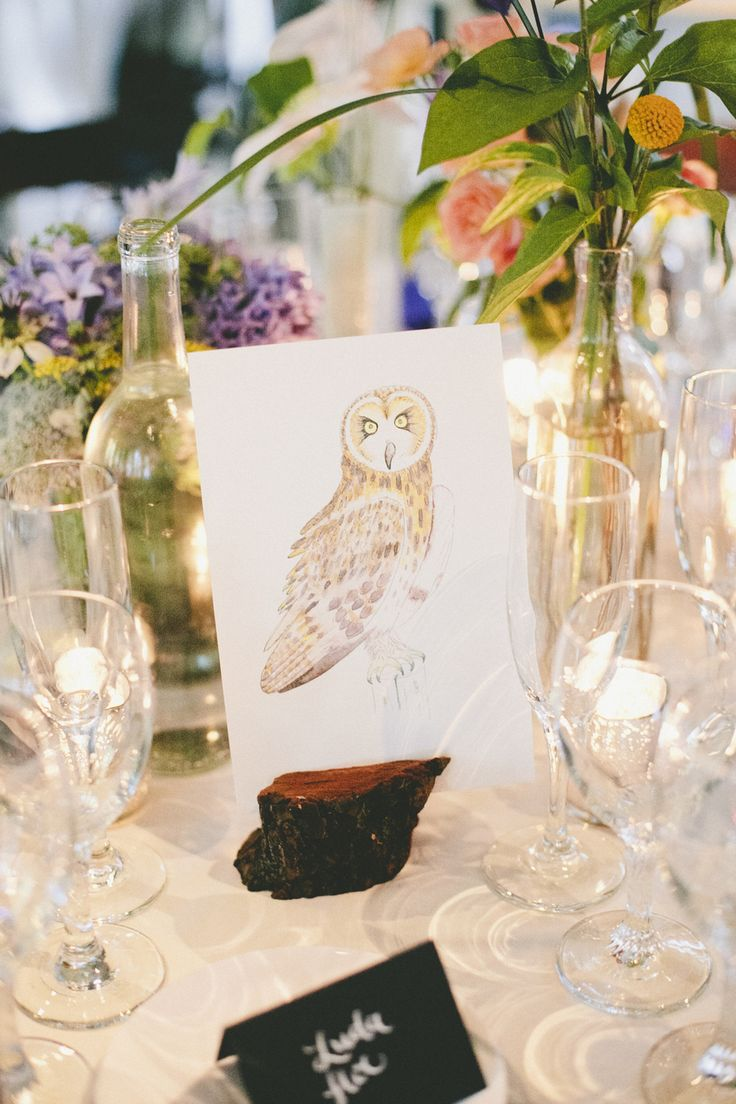 #owl #centerpiece Photography by onelove-photo.com  Read more - http://www.stylemepretty.com/2013/08/30/larkspur-wedding-from-onelove-photography/