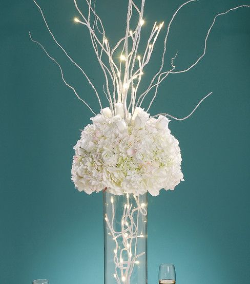 White led lighted branch for reception centerpieces