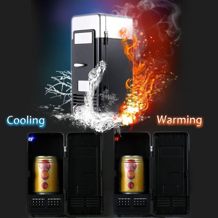 Hot sale Black/Red Desktop Mini USB Gadget Beverage Cans Cooler Warmer Refrigerator Mini Fridge with Internal LED Light