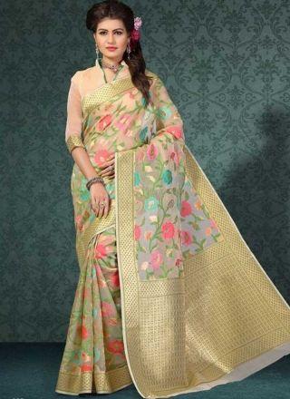 Beige Silk Banarsi Weaving Prints Fancy Designer Sarees Online http://www.angelnx.com/Sarees/Designer-Sarees