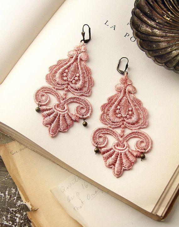 Dusky pink lace jewellery earrings.