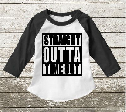 Straight outta timeout raglan baseball shirt for a toddler or baby. Raglan only available in 2/3T size. If you need something please convo me and Ill see